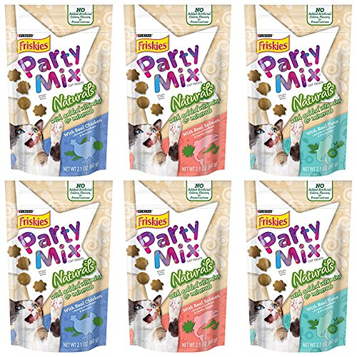 Purina Friskies Party Mix Naturals Cat Treats Variety Pack - 2.1 Ounces - 3 Flavors - Real Chicken, Real Salmon, and Real Tuna (6 Pouches Total)