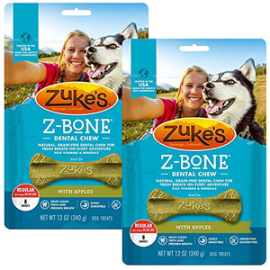 Zuke's Z-Bone Dental Chew Dog Treats, Apple, Regular, 16 Chews