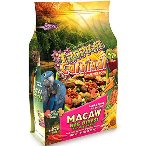F.M. Brown's Tropical Carnival Gourmet Macaw Food Big Bites for Big Beaks, 14-lb Bag - Vitamin-Nutrient Fortified Daily Diet with Probiotics for Digestive Health