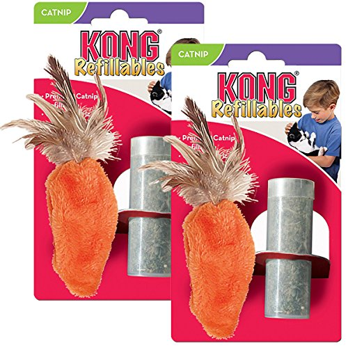 KONG Feather Top Carrot Catnip Toy, Cat Toy, Orange (2 Pack)