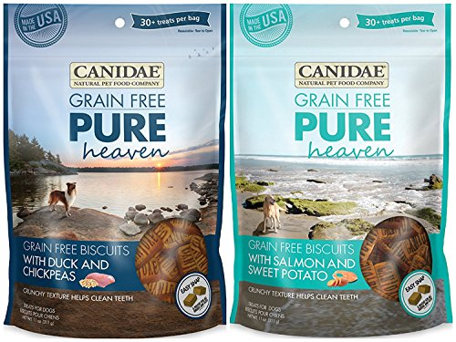 Canidae Grain Free Pure Heaven Dog Biscuits 2 Flavor Variety Bundle: (1) Canidae Grain Free Pure Heaven Dog Biscuits with Salmon and Sweet Potato and (1) Canidae Grain Free Pure Heaven Dog Biscuits with Duck and Chickpeas, 11 Ounces Each (2 Bags Total)