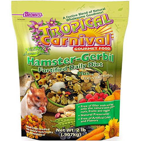 F.M. Brown's Tropical Carnival Natural Hamster-Gerbil Food, 2-lb Bag - Vitamin-Nutrient Fortified Daily Diet, NO Filler Seeds, NO Artificial Colors or Flavors
