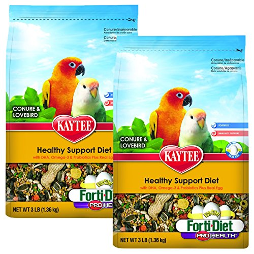 Kaytee Forti-Diet Pro Health Egg-Cite! Conure & Lovebird Food, 2 pack 3-lb bags