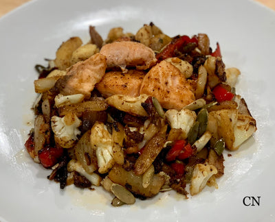 Smoky Chipotle Wild Salmon and Vegetable Sauté from Chef Nirvana