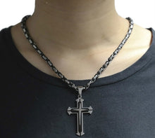 Load image into Gallery viewer, Black and Silver Stainless Steel Cross Pendant Byzantine Chain Necklace 5mm Wide, 22 inches