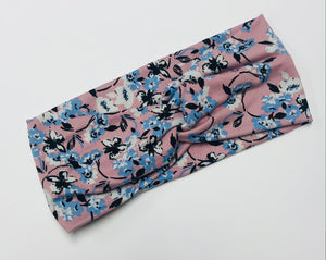 Pink and Blue Floral Twist Headband
