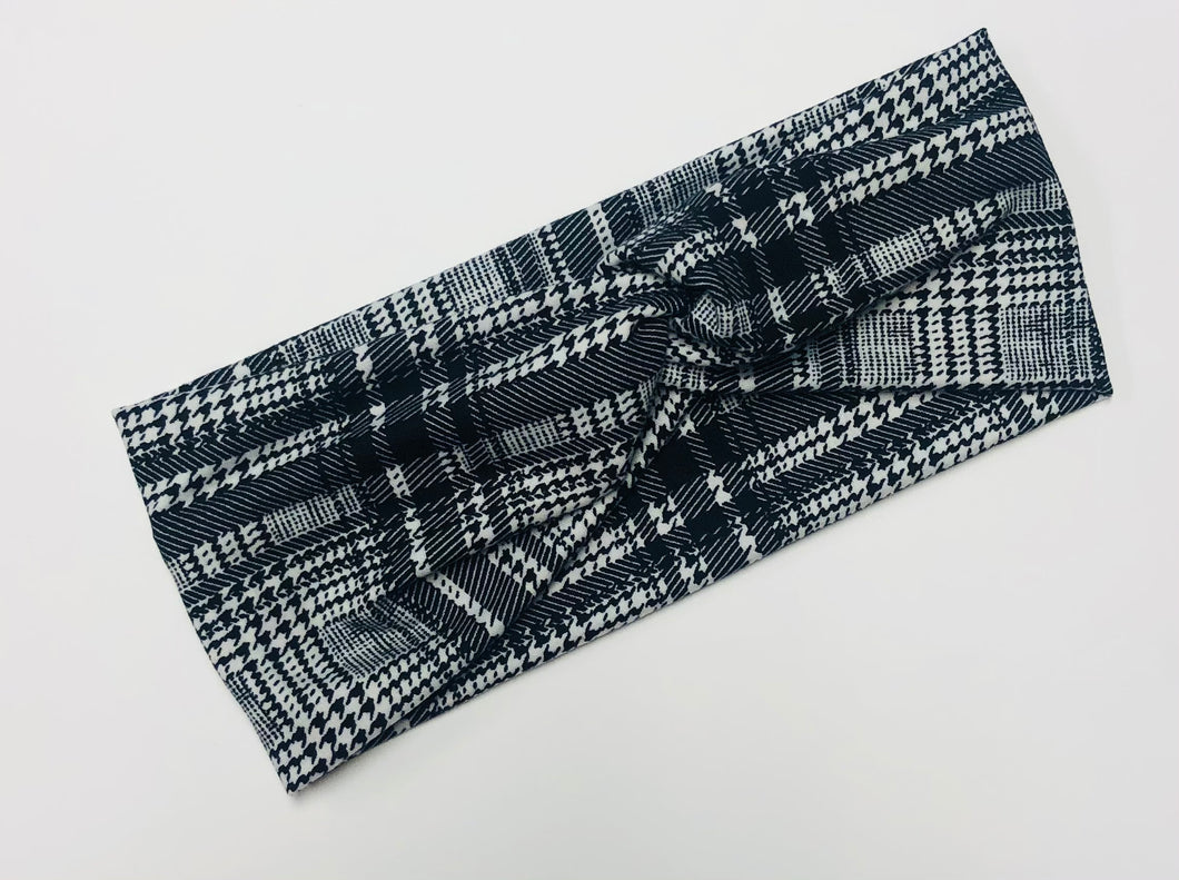 Black Plaid Twist Headband