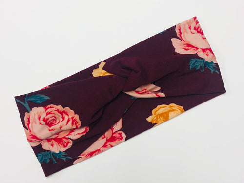 Plum Floral Twist Headband