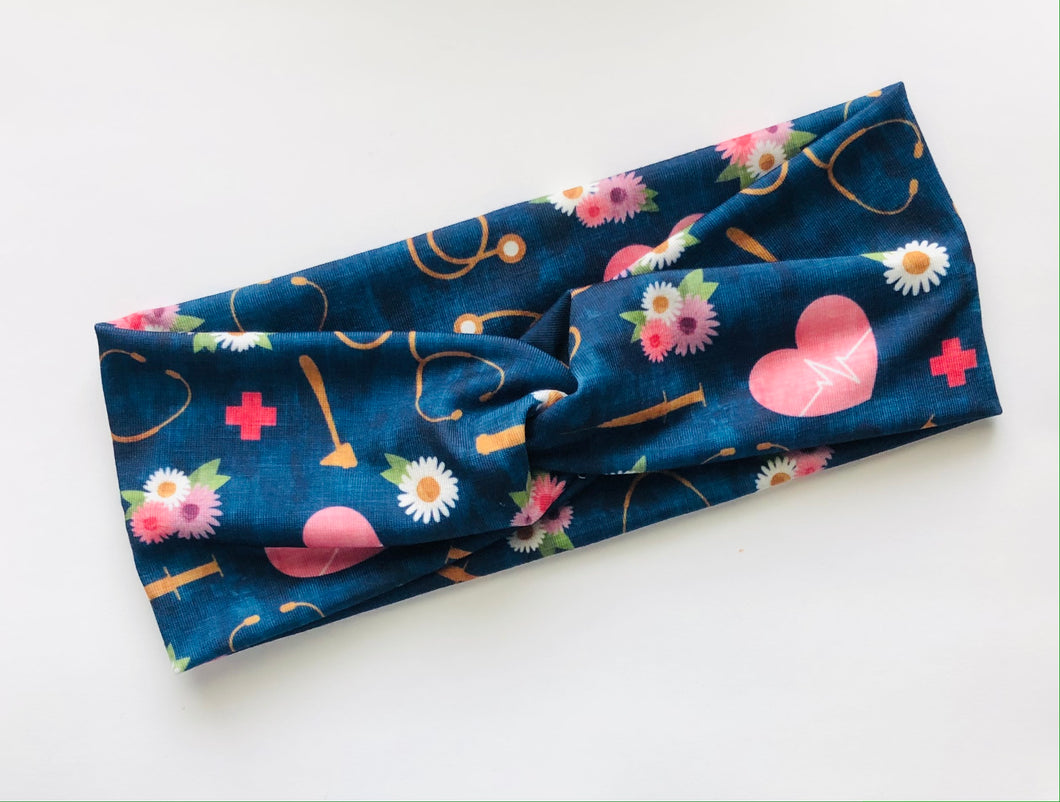 Navy Medical Floral Headband