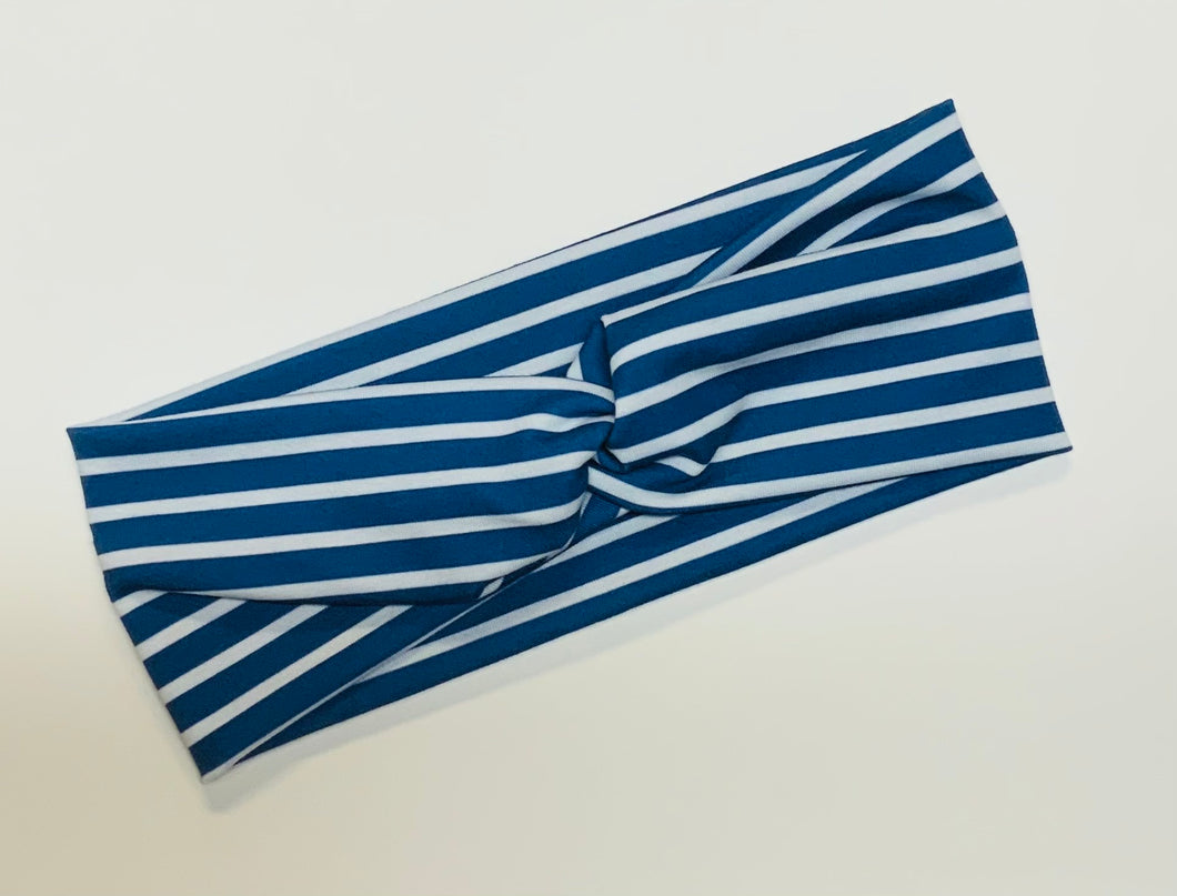Navy Horizontal Stripe Twist Headband