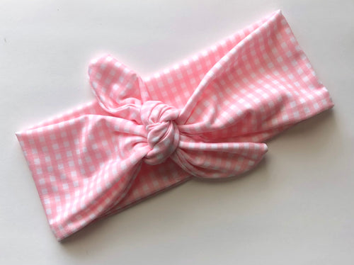 Pink Plaid Tied Headband