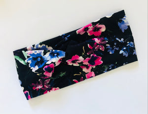 Black Spring Floral Twist Headband