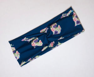 Navy Floral Michigan  Twist Headband