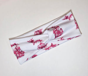 White Pink Floral Michigan Twist Headband