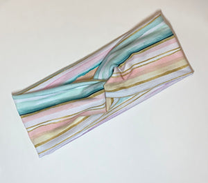 Pastel Stripe with Gold Twist Headband