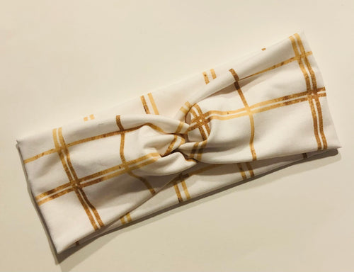 Gold Plaid Twist Headband