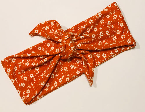 Orange Floral Tied Headband