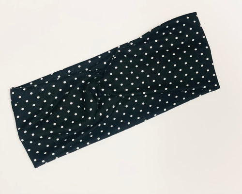 Black Polka Dot Twist Headband