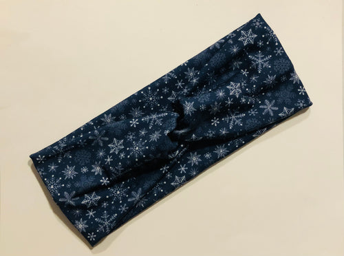 Navy Snowflake Twist Headband