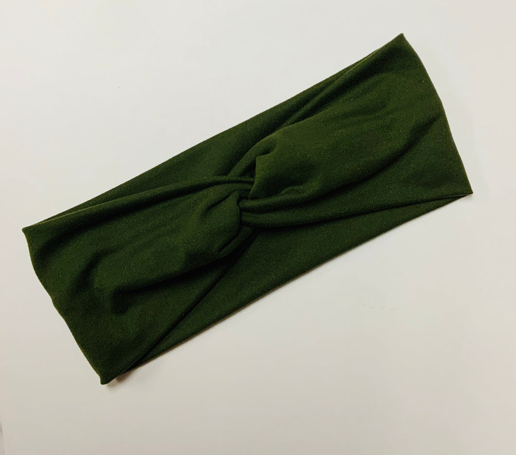 Olive green twist headband