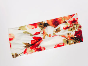 Red Floral Top Knot Headband