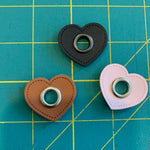 35mm Heart PU Leather sew on Eyelet - Earth