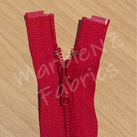 Size 5 - Red (Nylon Coil) Open ended Zipper