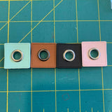 27mm Square PU Leather sew on Eyelet - BlackB
