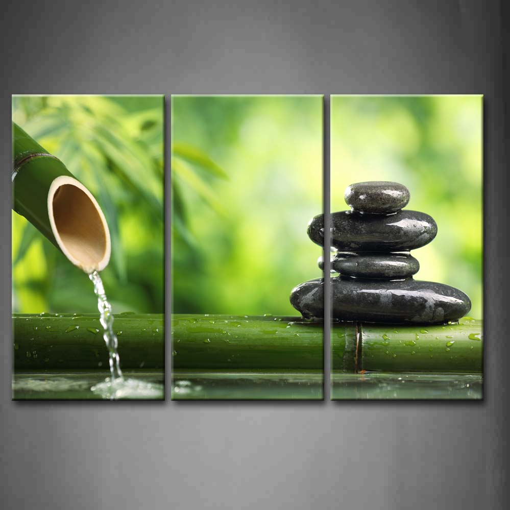 Bamboo Fountain Zen Stone  Wall Art