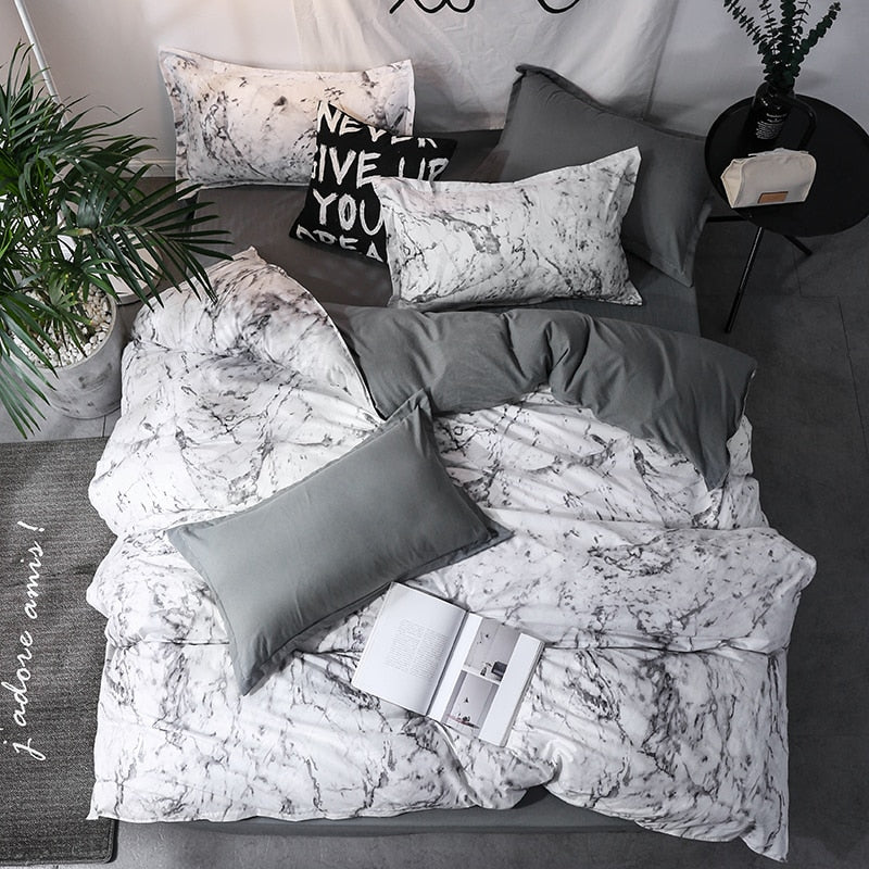 3 Piece Marble Bedding Set