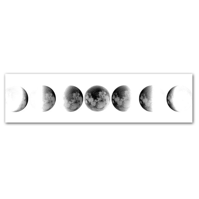 The Moon Phase Black White Wall Art