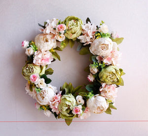 Peonies Wreath Door Decor