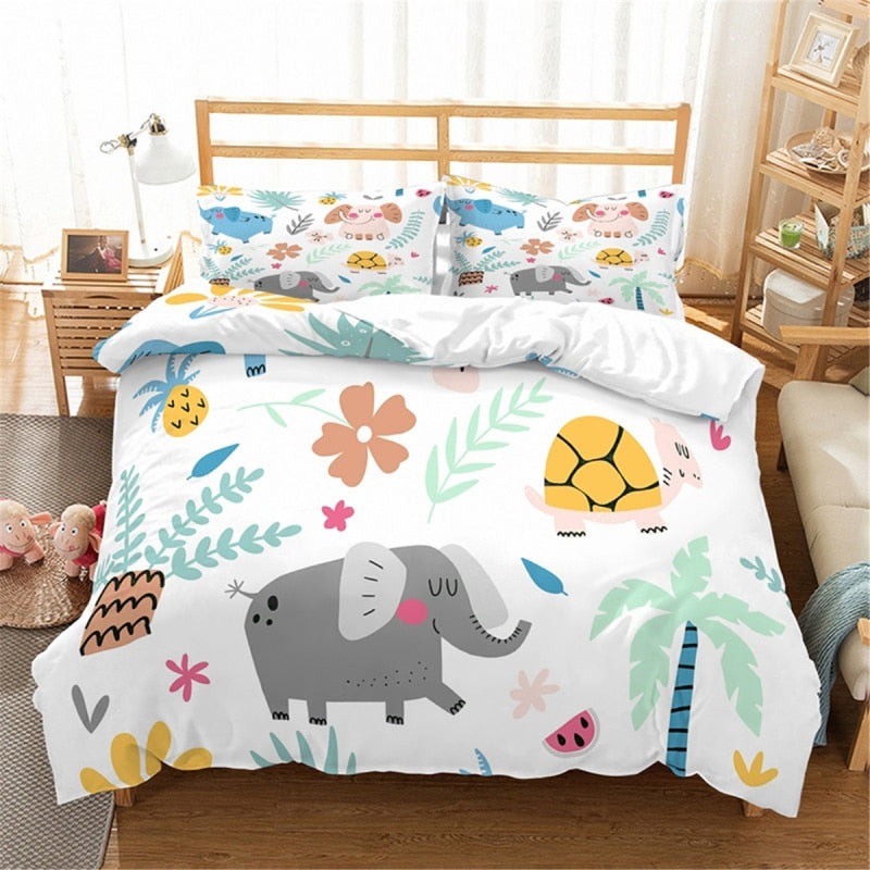 3 Piece Elephant Bedding Set