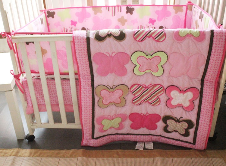 Pink Butterfly Crib Set