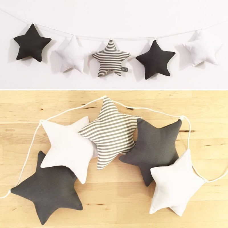 Wooden Beaded Star Banner Decor