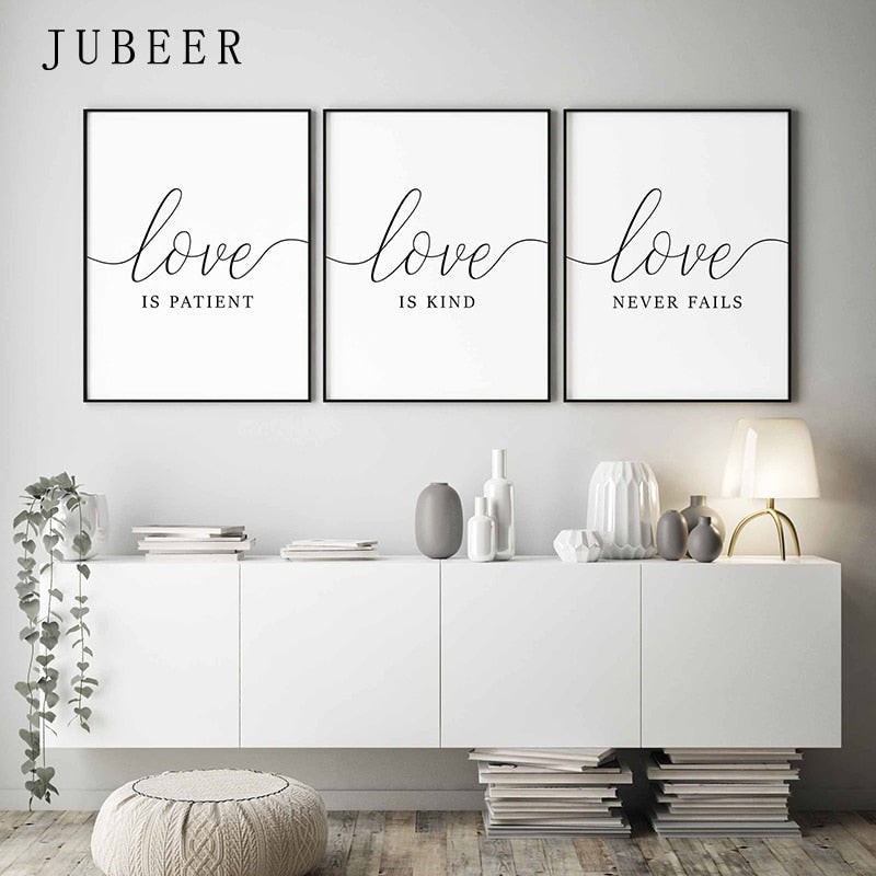 Love is Patient Set of 3 Wall Art