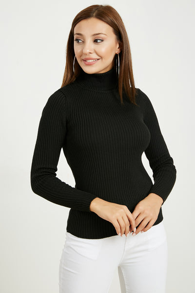 Women's Turtleneck Black Rib Tricot Blouse