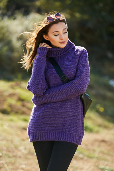 Women's Turtleneck Purple Shabby Tricot Sweater