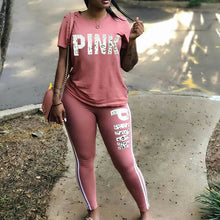 Load image into Gallery viewer, Women Two Piece Set 2019 Summer Pink Letter Print Tracksuits Plus Size T-Shirt Top And Pants Set Suits Casual Bodcon 2 Piece Set