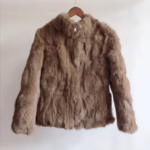 Load image into Gallery viewer, 2019 High Quality Real Fur Coat Fashion Genuine Rabbit Fur Overcoats Elegant Women Winter Outwear Stand Collar Rabbit Fur Jacket