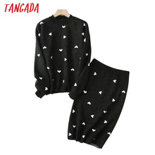 Load image into Gallery viewer, Tangada korea chic heart pattern knitted suit women skirt set autumn winter   knitted suit 2 piece set sweet top and skirt YU14