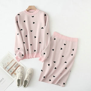 Tangada korea chic heart pattern knitted suit women skirt set autumn winter   knitted suit 2 piece set sweet top and skirt YU14