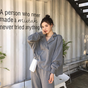 Autumn Women 2 Piece Set pants Suit Tracksuit Sweatshirts Casual  Long Sleeve Solid  Suit Tops+Pants Sporting Suit Female