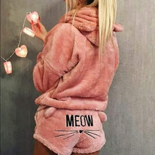 Load image into Gallery viewer, 2019 Newly Winter Women Flannel Pajamas Set Bear Hooded Pajamas Winter Warm Coral Fleece Sleepwear Hoodie+Short Tow 2pcs Suit