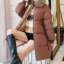 Load image into Gallery viewer, Winter Hooded Warm Down Coat Women Casual Long Down Jackets Ladies Thicken Cotton Parka Plus Size Outerwear Korean Harajuku Coat