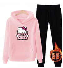 Load image into Gallery viewer, p66 3xl hello-kitty 2019 winter women ladies 2pcs long sleeve fleece hoodie Sweatshirts Set pullover Suit Tracksuits clothes