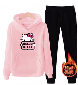 p66 3xl hello-kitty 2019 winter women ladies 2pcs long sleeve fleece hoodie Sweatshirts Set pullover Suit Tracksuits clothes