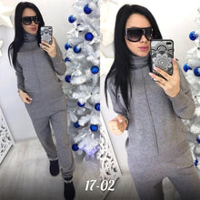 Load image into Gallery viewer, Turtleneck Pullover Sweatshirts Knit Pants Suit Two Piece Sets Women Autumn Winter Warm Knitted Tracksuit Sporting Suit Female