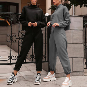 Women Black Loose Tracksuit Crop Top Harem Pants Matching Suit Fashion Autumn Casual Female Long Sleeve Sweatshirt 2 Piece Set