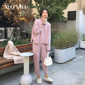 2 Pieces Set  Women Winter Autumn Knitted Tracksuit Turtleneck Sweater Knit Pants Women Loose Clothing Suits Female Pants Suit